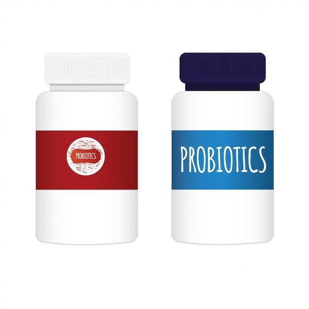 Probiotica en bacteriën. een fles met deksel. eenvoudige vlakke stijltrend van modern probiotisch grafisch embleemontwerp, dat op witte achtergrond wordt geïsoleerd. goede bacteriën van micro-organismen. Premium Vector