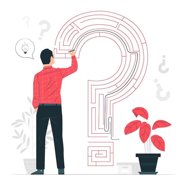 Probleemoplossend (labyrint) concept illustratie Gratis Vector