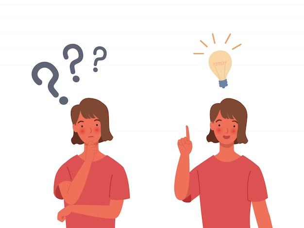 Probleemoplossende concepten. vrouwen denken - met een vraagteken. Premium Vector