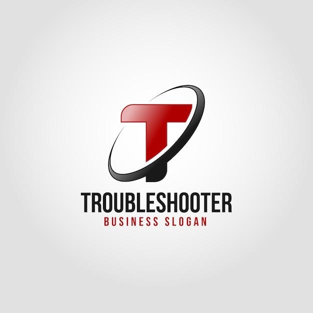 Probleemoplossing - sjabloon voor brief t-logo Premium Vector