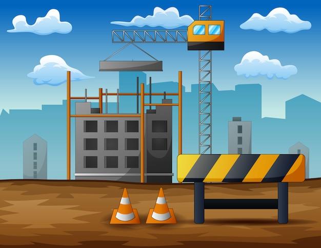 Proces van bouw van geïsoleerde woonhuizen Premium Vector