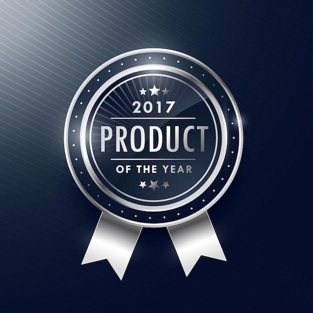product van het jaar zilveren badge label design Gratis Vector
