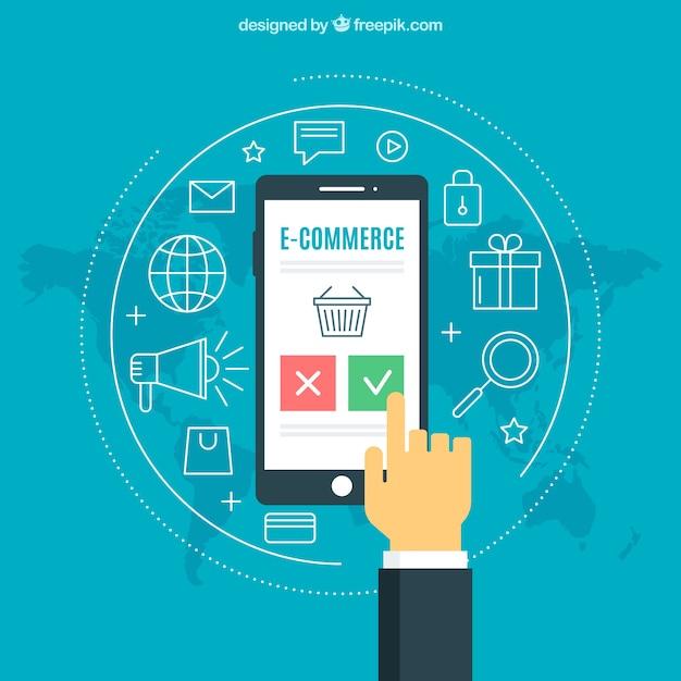 Producten en vinger aanraakscherm van de telefoon Gratis Vector