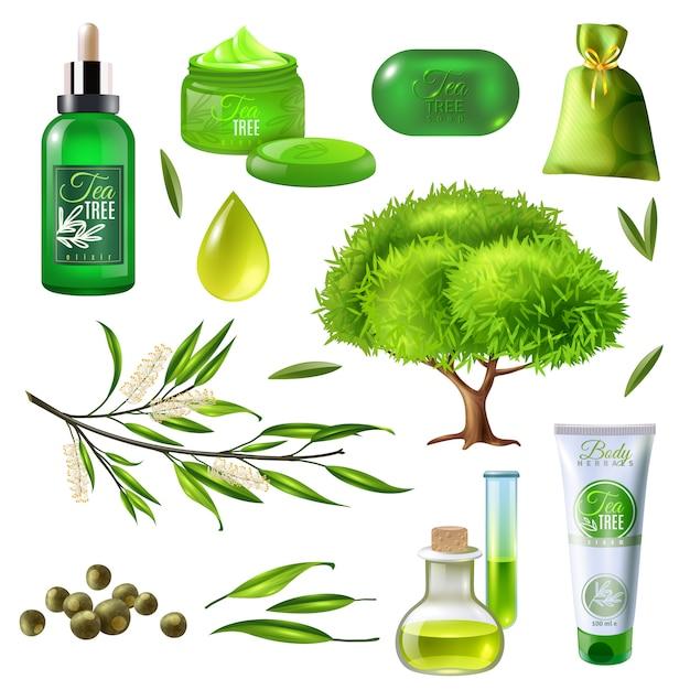 Producten van tea tree set Gratis Vector