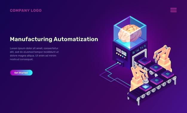 Productie automatisering isometrisch concept Gratis Vector
