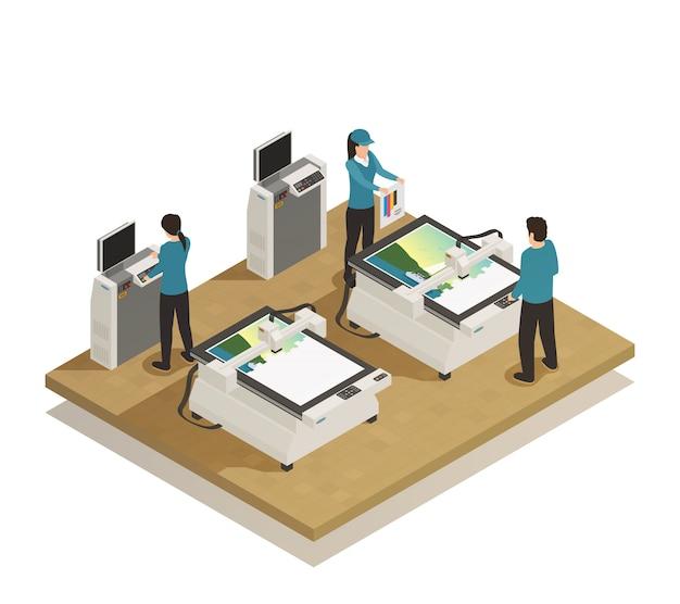 Productie van drukkerijen isometrisch Gratis Vector