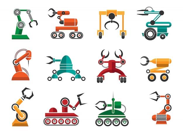 Productie van robotachtige auto handen pictogrammen Premium Vector