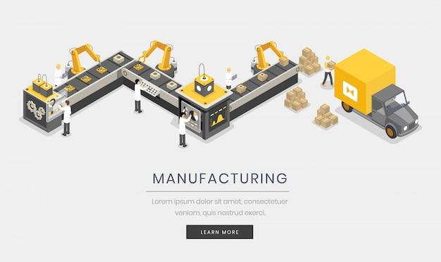 Productiebedrijf. volledig geautomatiseerd, autonoom productieproces, industrialisatie Premium Vector