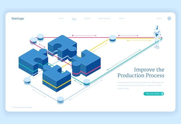 Productieproces verbetert de isometrische bestemmingspagina, maakt gebruik van puzzelstukjes en kunstmatige intelligentie-robot. teamwork oplossingen, business team samenwerking 3d-vector illustratie, Gratis Vector