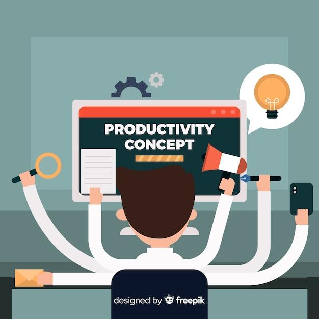 Productiviteit concept achtergrond Gratis Vector