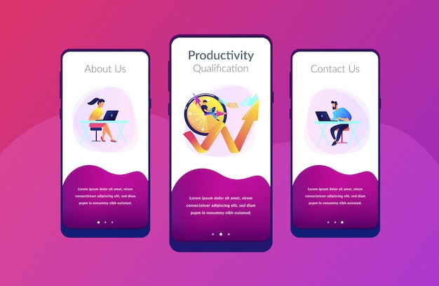 Productiviteits-app-interfacemalplaatje Premium Vector