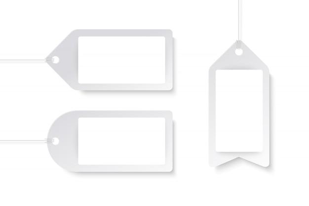 Productlabels in papieren kunststijl Premium Vector