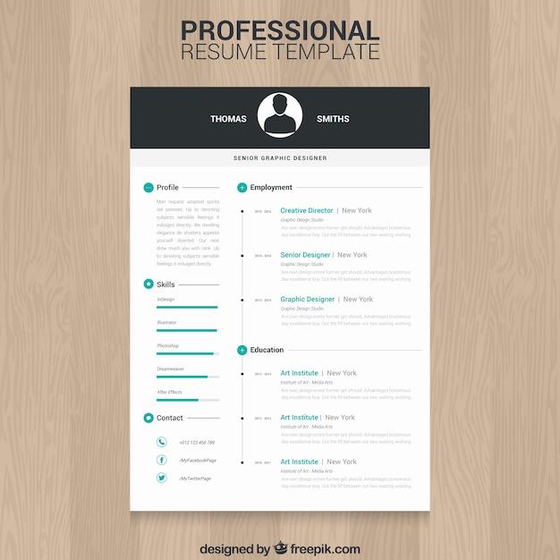 Professional CV-sjabloon Gratis Vector