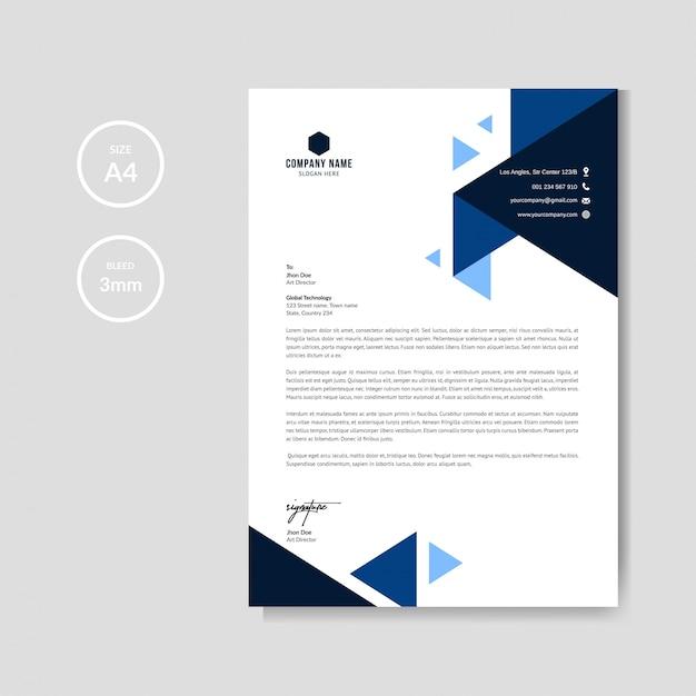 Professioneel blauw briefhoofd grafisch sjabloon Premium Vector