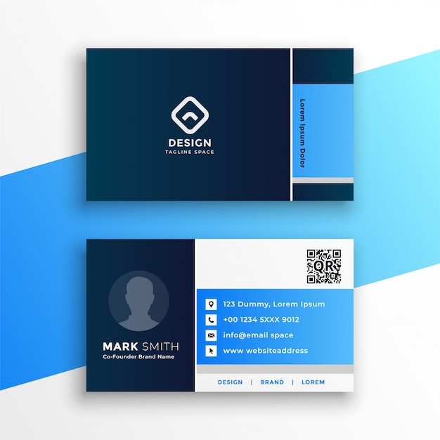 Professioneel blauw geometrisch visitekaartje ontwerpsjabloon Gratis Vector