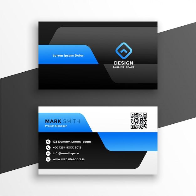 Professioneel blauw visitekaartje modern sjabloonontwerp Gratis Vector
