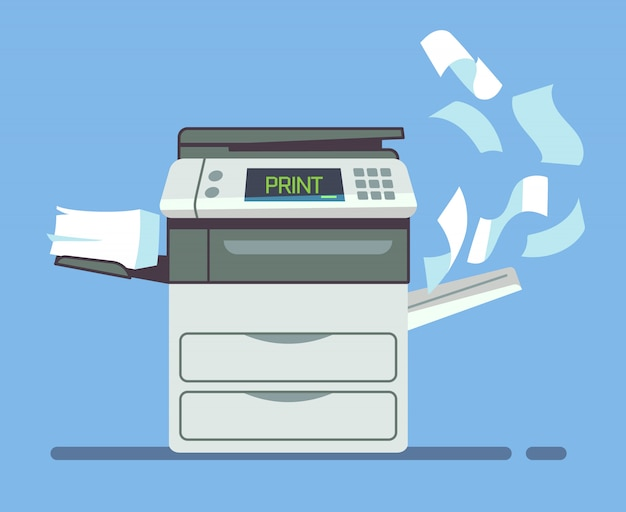 Professioneel bureaukopieerapparaat, multifunctionele printer die document documenten geïsoleerde vectorillustratie drukken. printer en copiermachine voor kantoorwerk Premium Vector