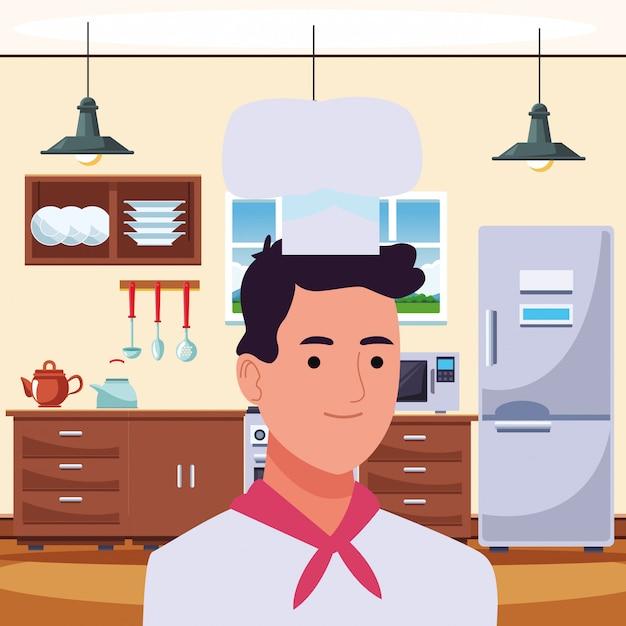 Professioneel chef-kokmens het glimlachen profielbeeldverhaal Premium Vector
