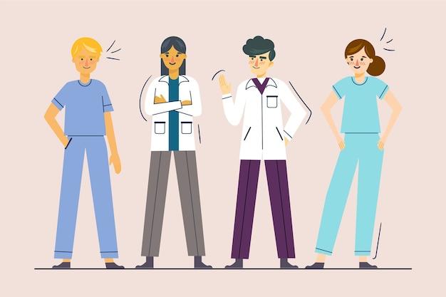 Professioneel gezondheidsteam geïllustreerd Gratis Vector