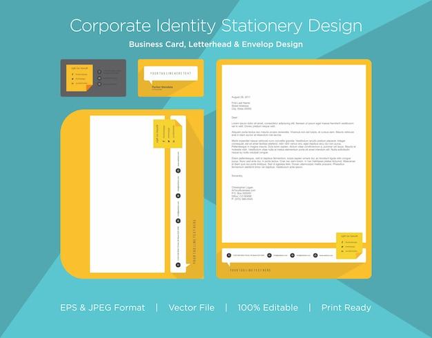 Professioneel visitekaartje, briefhoofd en envelop ontwerpsjabloon Premium Vector