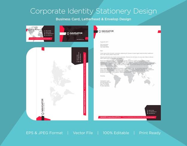 Professioneel visitekaartje, briefpapier en envelop ontwerpsjabloon Premium Vector