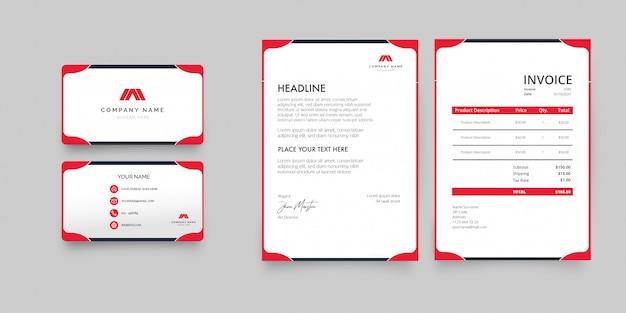 Professioneel zakelijk briefpapierpakket met rode vormen Gratis Vector
