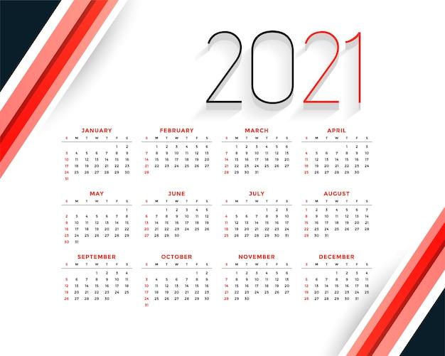 Professionele 2021 moderne rode kalendersjabloon Gratis Vector