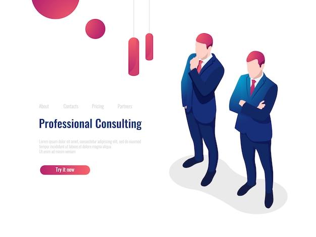 Professionele adviserende serviceadviespartner voor het bedrijf, brainstorming, teamwork, advocaat Gratis Vector