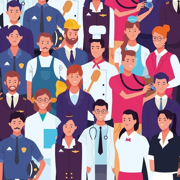 Professionele arbeiders arbeidsdag tekenfilms Premium Vector