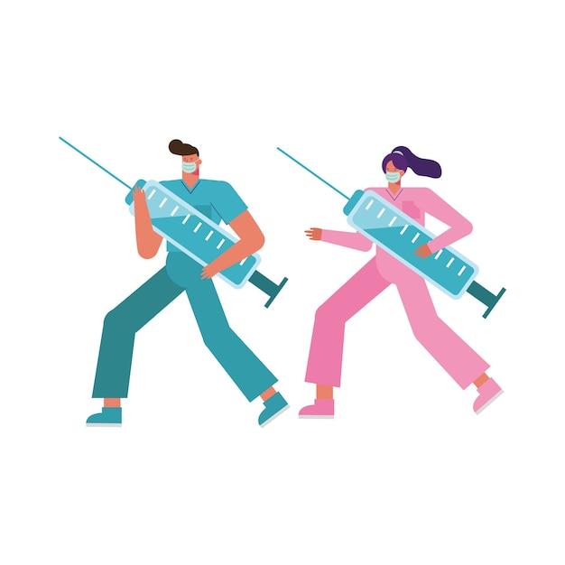 Professionele artsen paar het dragen van medische maskers injecties illustratie opheffen Premium Vector