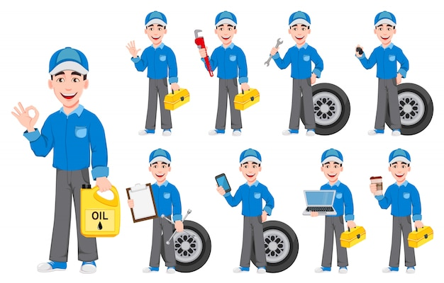 Professionele automonteur in uniform Premium Vector