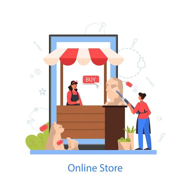 Professionele beeldhouwer online winkel. een sculptuur maken van marmer, hout en klei. creatieve kunstenaar. kunst en hobby. geïsoleerde vectorillustratie Premium Vector