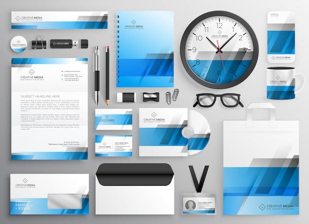 Professionele blauwe zakelijke briefpapier items instellen Gratis Vector