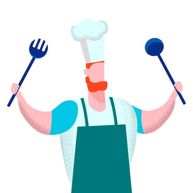 Professionele chef-kok Premium Vector