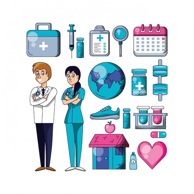 Professionele chirurgen met vastgestelde pictogrammen Premium Vector