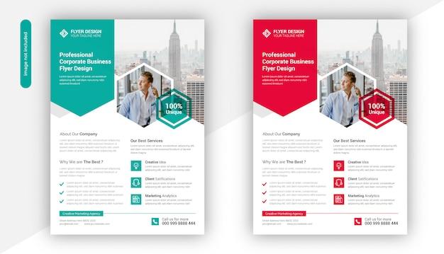 Professionele creatieve zakelijke flyer sjabloonontwerp Premium Vector