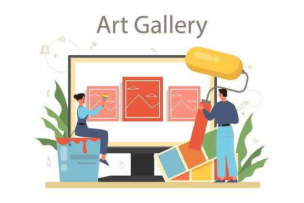 Professionele decorateur online service of platform. ontwerper die het ontwerp van een kamer plant, muurkleur en meubelstijl kiest. online galerij. Premium Vector