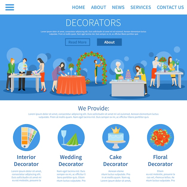 Professionele decorateurs eén pagina plat ontwerp Gratis Vector
