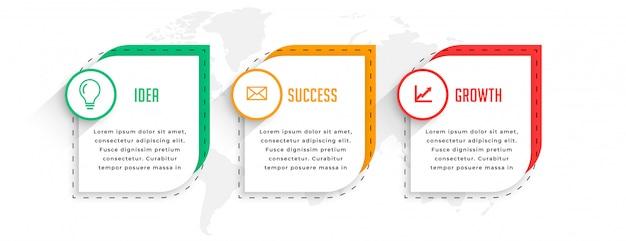Professionele drie stappen zakelijke infographics sjabloonontwerp Gratis Vector