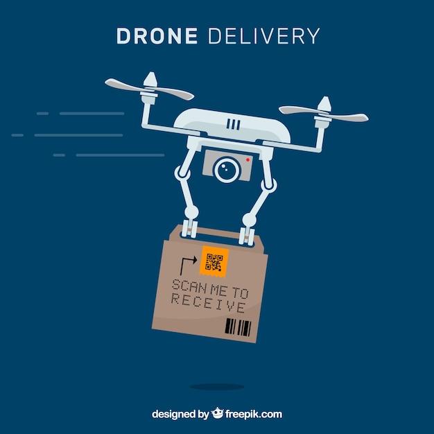 Professionele drone met kartonnen doos Gratis Vector