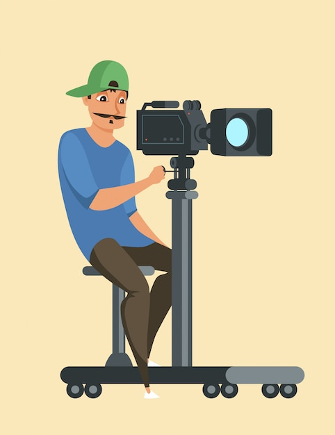 Professionele fotograaf op het werk karakter, cartoon videocamera kerel in glb, mannelijke cameraman tekening. apparatuur voor filmopnamen, tv-opnameproces Premium Vector