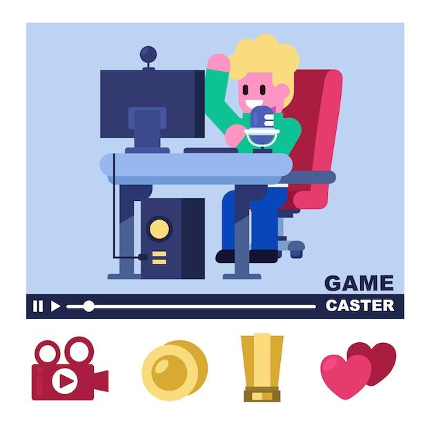 Professionele game caster, game streamer, game livestream met ondersteuning voor icon fanclubs Premium Vector