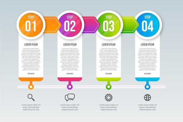 Professionele infographic stappen sjabloon Gratis Vector