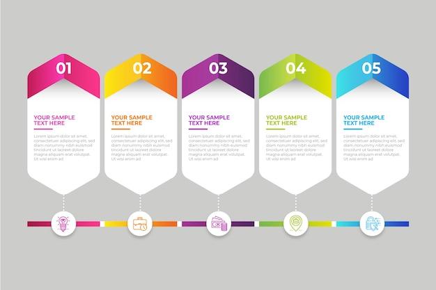 Professionele infographic verloop tijdlijn Gratis Vector