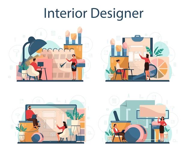 Professionele interieur concept set. decorateur die een kamer plant, muurkleur en meubelstijl kiest. huis renovatie. Premium Vector