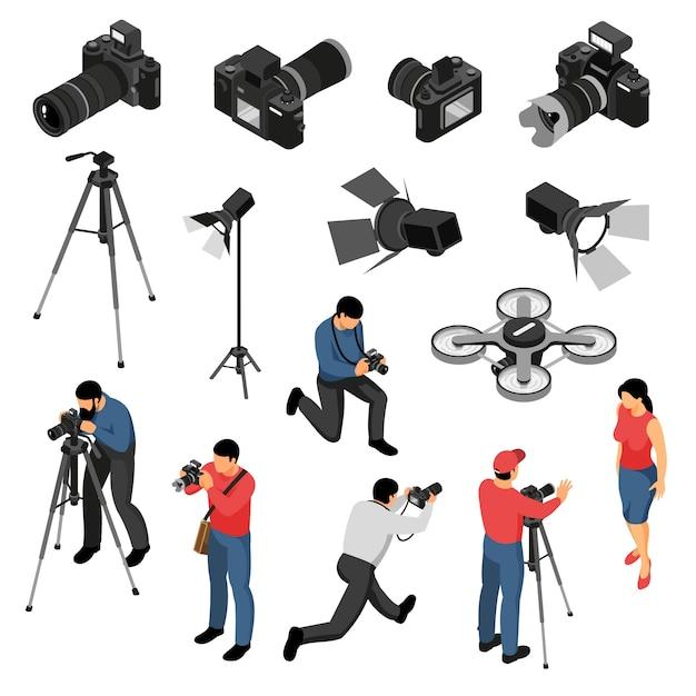 Professionele isometrische de pictogrammeninzameling van de fotograafapparatuur met de foto van het studioportret schiet camera lichte hommel geïsoleerde vectorillustratie Gratis Vector