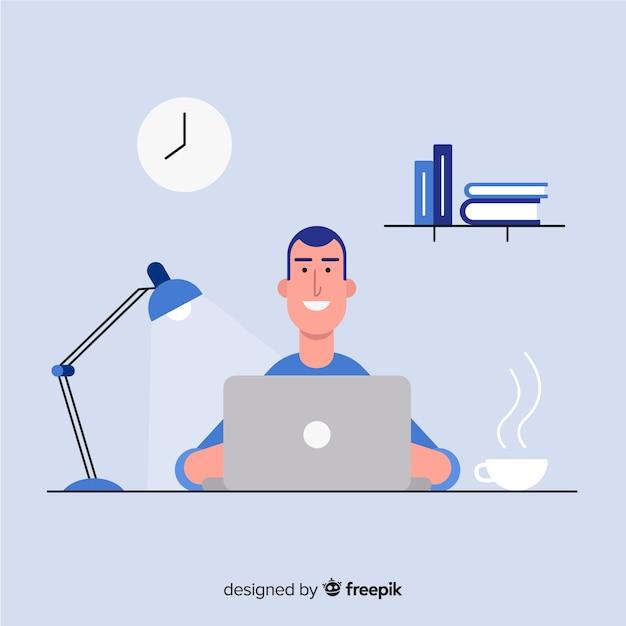 Professionele kantoormedewerker met een plat ontwerp Gratis Vector