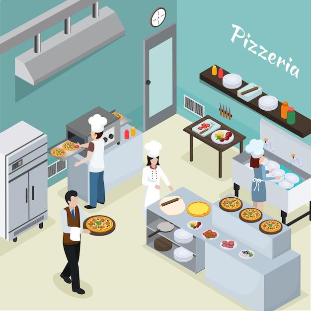 Professionele keuken interieur isometrische achtergrond Gratis Vector