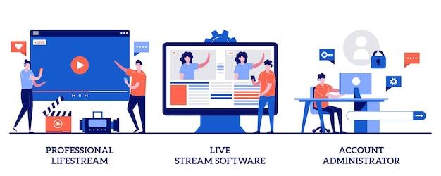 Professionele livestream, livestreamsoftware, accountbeheerderconcept met kleine mensen. omroepdienst ingesteld. online event stream manager. Premium Vector