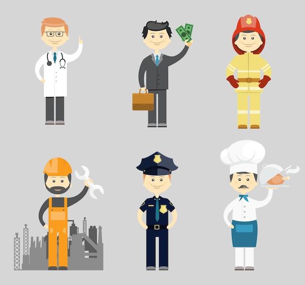 Professionele mannen karakter pictogram vector set met een arts succesvolle zakenman brandweerman industriële bouwvakker of monteur politieagent en chef-kok in een toque Gratis Vector